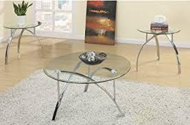 glass end table set amazon com 3 piece metal glass coffee table set by poundex kitchen