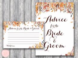 Advice For The Bride And Groom Cards Autumn Leave Wedding Shower Games