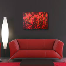 home decor red acrylic abstract painting 36 x 24 red painting canvas painting