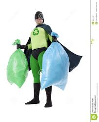 eco superhero and household garbage royalty free stock photography