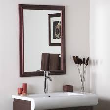 bathroom ideas brown polished walnut framed wall mirror over