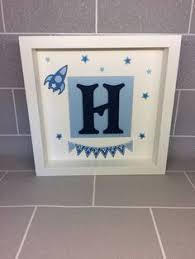 Personalised Baby Nursery Decor Personalised Initial Name Box Frame Handmade Keepsake New Baby