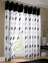 Curtain Drapes Black White Waves Fully Lined Ring Top Voile Curtain Drapes 4