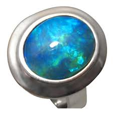 opal silver rings images Large blue opal ring 925 silver silver opal rings flashopal jpg