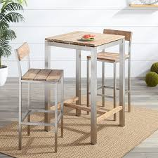 Patio Coffee Table Set by Macon 3 Piece Teak Outdoor Bistro Set Whitewash Outdoor