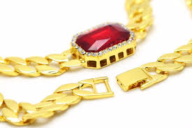 hip hop style necklace images Zidom gold pleated 2 red gem hip hop glaze cuban chain width 1 5cm jpg