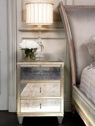 old style antique 3 drawer mirrored bedside table with brass frame
