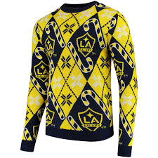 men u0027s la galaxy blue candy cane repeat crew neck ugly sweater