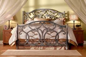 Wood And Iron Bed Frames Bedroom Retro Bedroom Furniture Idea With Gray Wrought Iron Bed
