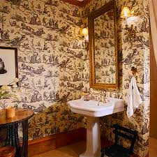 Toile Bathroom Wallpaper by Decorating Ideas Toile Fabric Traditional Home
