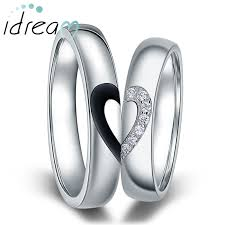 Heart Wedding Rings by Black White Couple Heart Wedding Rings Matching Couples