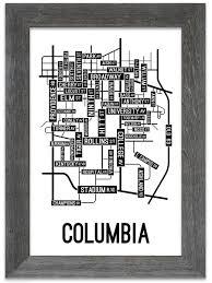 Columbia Campus Map Columbia Missouri Street Map Print Street Posters