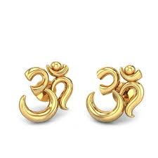 gold ear studs yellow gold 22k aakaksha om gold earring candere