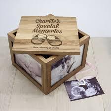 personalised keepsake box baby shoes oak photo keepsake box