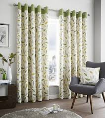 Green And Beige Curtains Fusion Beechwood 100 Cotton Ready Made Lined Eyelet Curtains