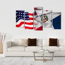 Dominican Republic Flag Usa And Dominican Republic Flag Multi Panel Canvas Wall Art