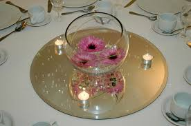 Small Centerpieces Graceful Mirror Center Pieces Featuring Pink Orchids Centerpieces