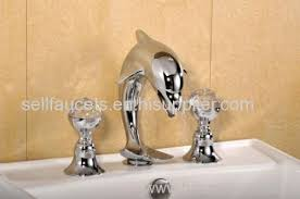 chrome widespread lavatory bathroom sink dolphin faucet crystal