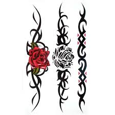 tribal heart and rose tattoos