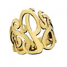 gold monogram ring zeuner 3 initial monogram ring authentic