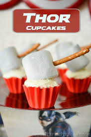 marvel avengers party idea thor hammer cupcake tutorial