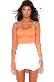 fitted dresses shop neon orange and white bustier 2fer fitted bodycon clubbing