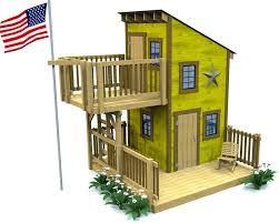 Shed Roof Porch Deluxe Loft Clubhouse Plan Playhouse Plans Playhouses And Porch