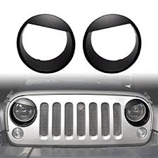 2009 jeep wrangler x accessories amazon com diytuning angry front lights trim cover headlight