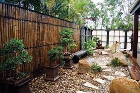 japanese garden in small sized outdoor with all japanese planters