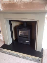 yeoman cl5 gas stove with wood fire surround hand painted