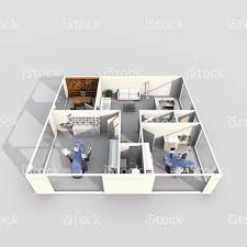 3d interior rendering of dental clinic with two dental chairs