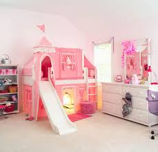 Princess Rugs For Girls Bedroom Brown Wooden Girls Loft Bed With Bottom Drawers And Rug