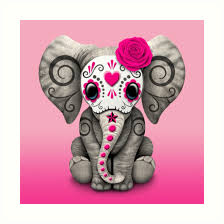 pink day of the dead sugar skull baby elephant prints by jeff