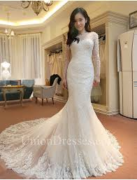 illusion neckline wedding dress memraid illusion neckline sleeve lace beaded wedding dress