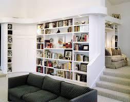 Open Bookshelf Room Divider Rectangle White Wood Open Bookcase Room Divider In Living Room