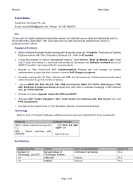 Sap Abap Resume For 2 Years Experience Resume