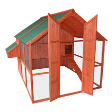 pawhut extra large backyard wood chicken coop poultry hen house
