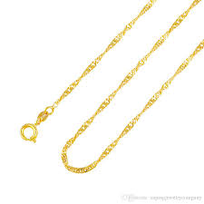 gold colored chain necklace images 24k gold color 2mm width asian chain women necklace cuban link jpg