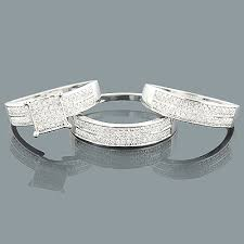 trio wedding sets trio wedding rings set 0 57ct 10k