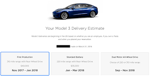 tesla releases some model 3 delivery estimates fortune