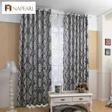 Black And White Blackout Curtains Curtain Window Living Room Jacquard Fabrics Luxury Semi Blackout
