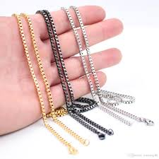 wholesale chain necklace images 2018 wholesale 2 4mm box chain necklace stainless steel men 39 s jpg