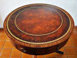 coffee table leather top heirloom quality weiman u201d regency style mahogany drum table 5037