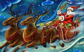 santa sleigh hd wallpaper