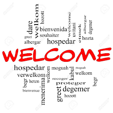 welcome word cloud concept in and black letters with welcome