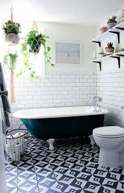 76 best bathroom beauties hotlooks images on pinterest bathroom gorgeous black and white tiled bathroom with a painted clawfoot bathtub