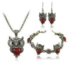 owl jewelry necklace images Vintage antique silver owl jewelry set jpeg
