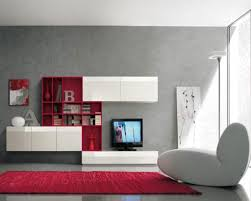 Modern Red Rug by White Ceiling Grey Paint Wall Color Living Room With White Glossy