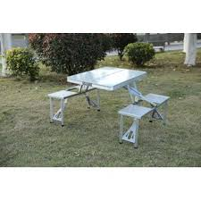 aluminum portable picnic table folding picnic table and bench wayfair
