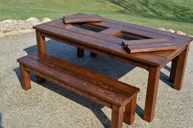 Free Plans Round Wood Picnic Table by Kruse U0027s Workshop Patio Party Table With Built In Beer Wine Ice